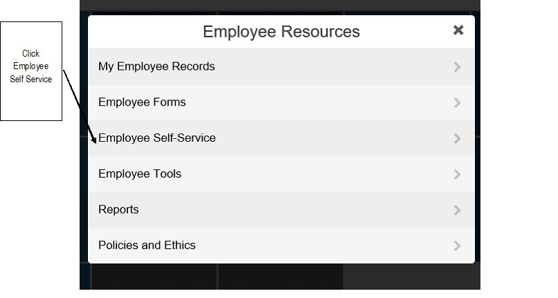 Employee resources menu with employee self service highlighted