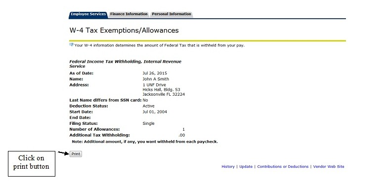 W-4 Tax Exemptions/Allowances menu with print button highlighted