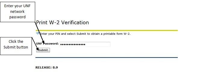 Print W2 verification menu with entry for password and submit highlighted