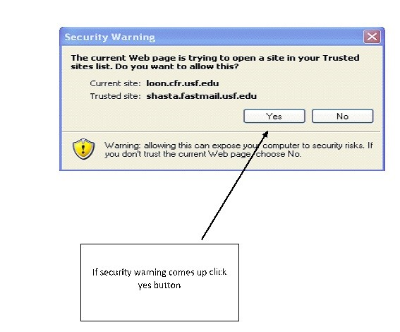 security warning asking if this is a trusted site with yes and no options