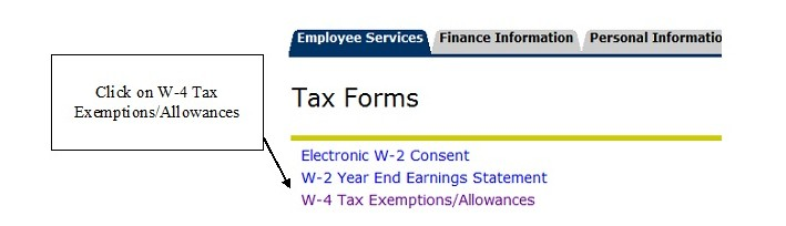 UNF Tax Forms with W-4 Tax Exemptions/Allowances highlighted