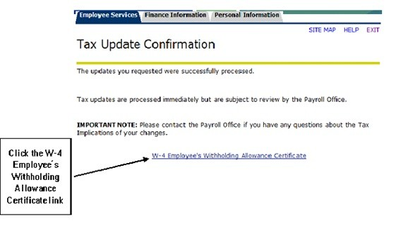 tax update confirmation with W-4 Employee Withholding Allowance