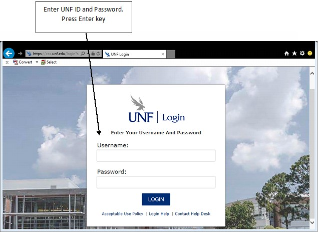 UNF login page with Username and password for text entry