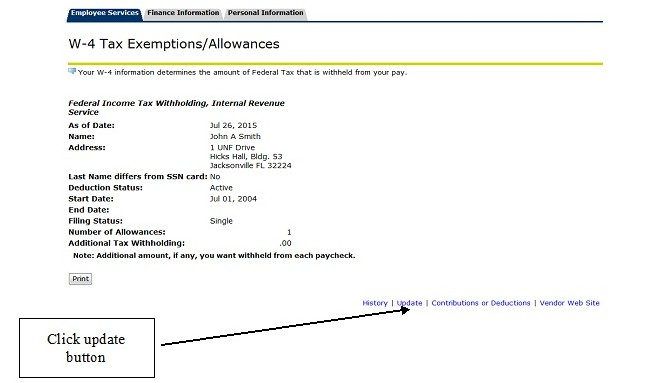 W-4 Tax Exemptions/Allowances menu with update button highlighted