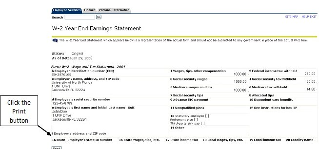 Sample of UNF W2 earnings statement with print button highlighted in lower left corner