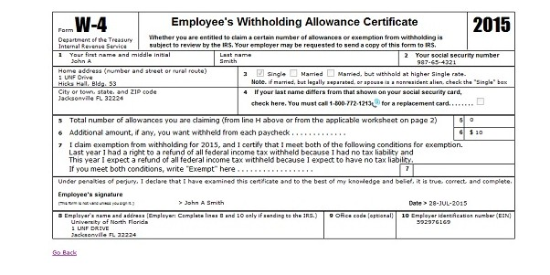 w4 withholding allowance certificate