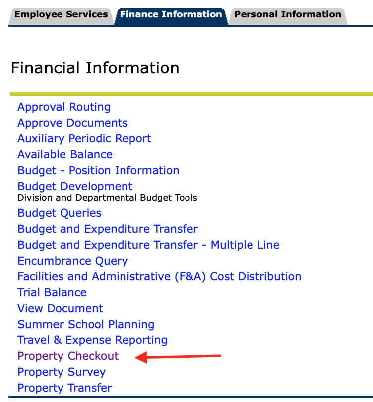 Finance Self Service options with Property Checkout highlighted