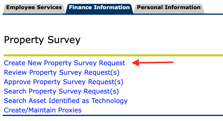 Property Survey options with Create new property survey request highlighted