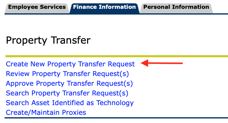 Property Transfer options with Create new property transfer request highlighted