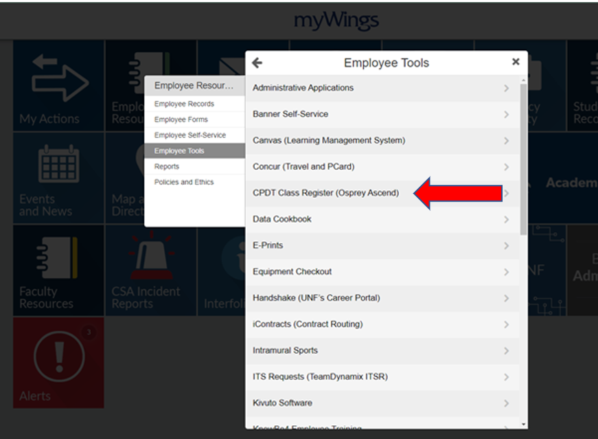 From the Employee Tools menu in myWings, select CPDT Class Register (Osprey Ascend)