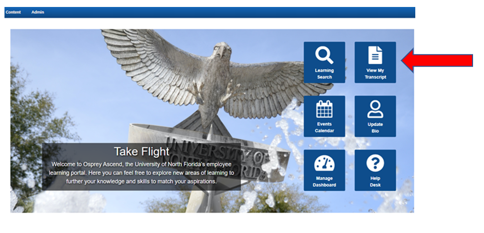 From the Osprey Ascend Welcome Page, click the View My Transcript button