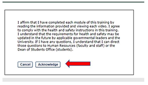Step 4 - Click acknowledge with acknowledgement statement