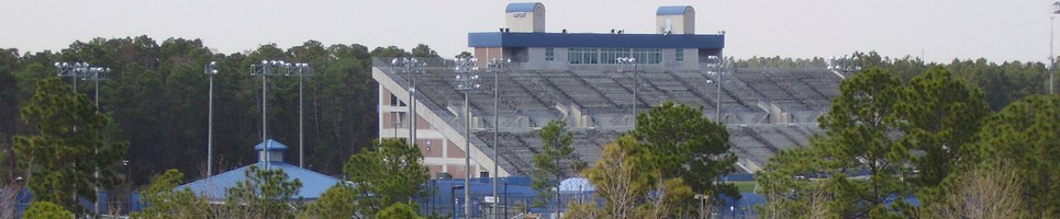 Photo of Harmon stadium, large concrete bleachers