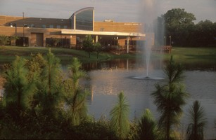 University Center building overlooking fountain