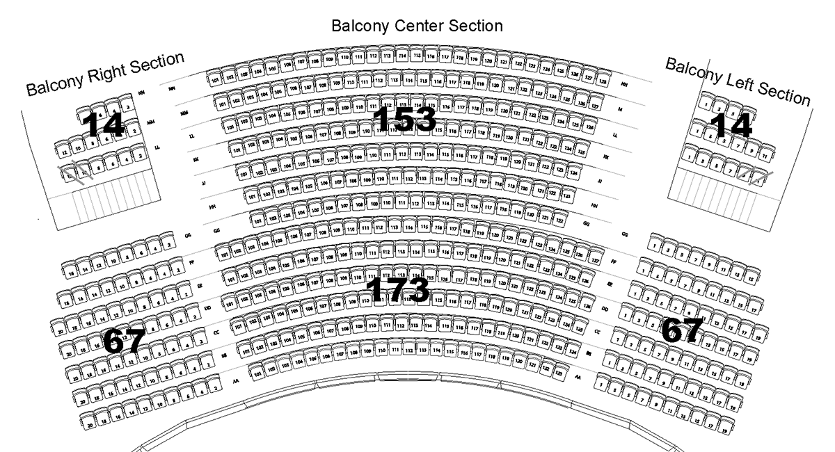Lazzara Performance Hall Balcony Seating Chart. Text version below.