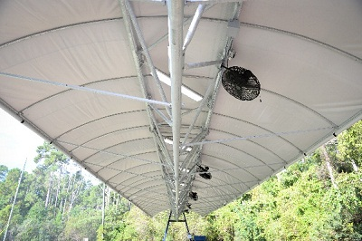 A vertical Line view from underneath a canopy featuring the varied lights and fans.