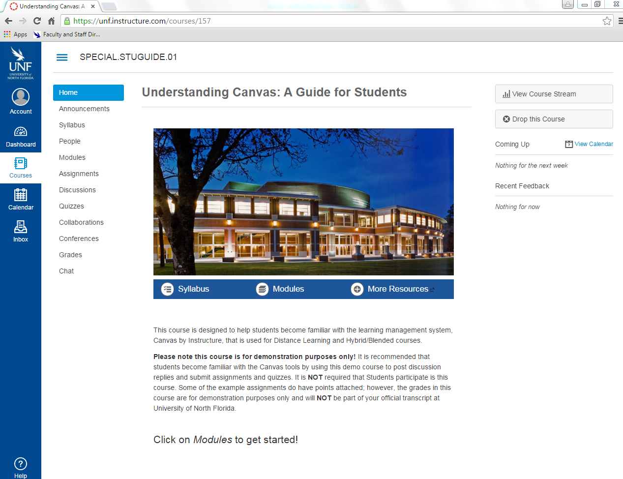 Canvas Course Home page