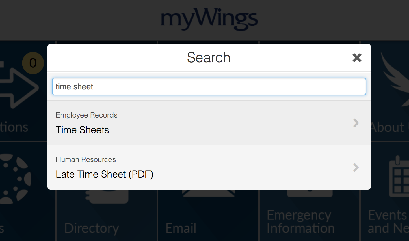 myWings Search Popup