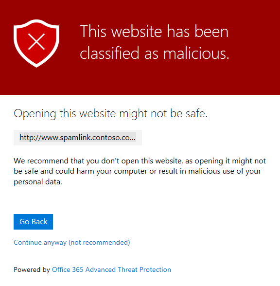 Office365 Website classified as Malicious Warning