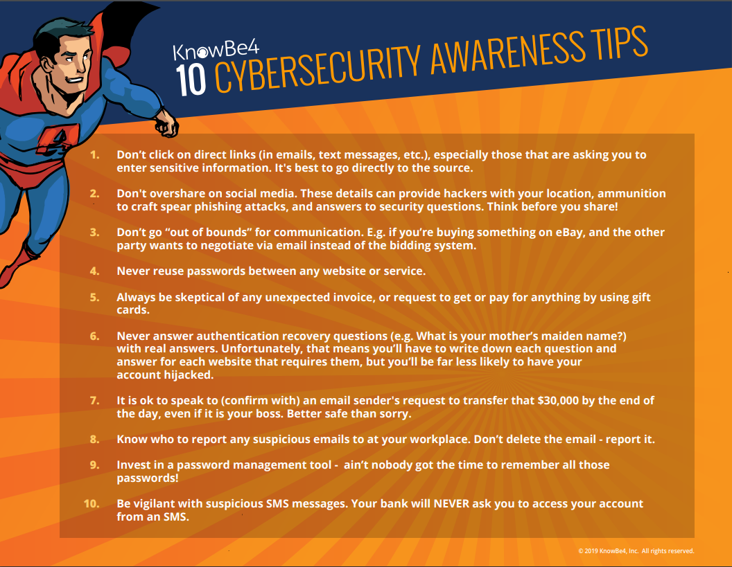 10 Cybersecurity Awareness Tips with a superhero on it - info relayed below