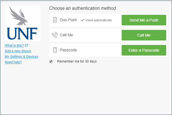Choose an authentication method screen