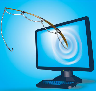 Phishing cartoon image showing a computer with a fishing pole