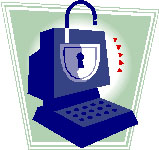 Security image showing cartoon of computer with a lock on the screen