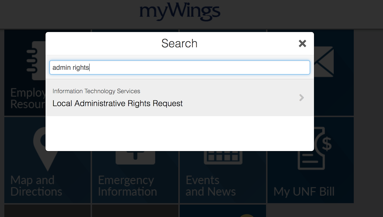 search for admin rights - screenshot