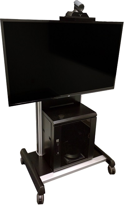 Clip cart with computer, mouse and webcam