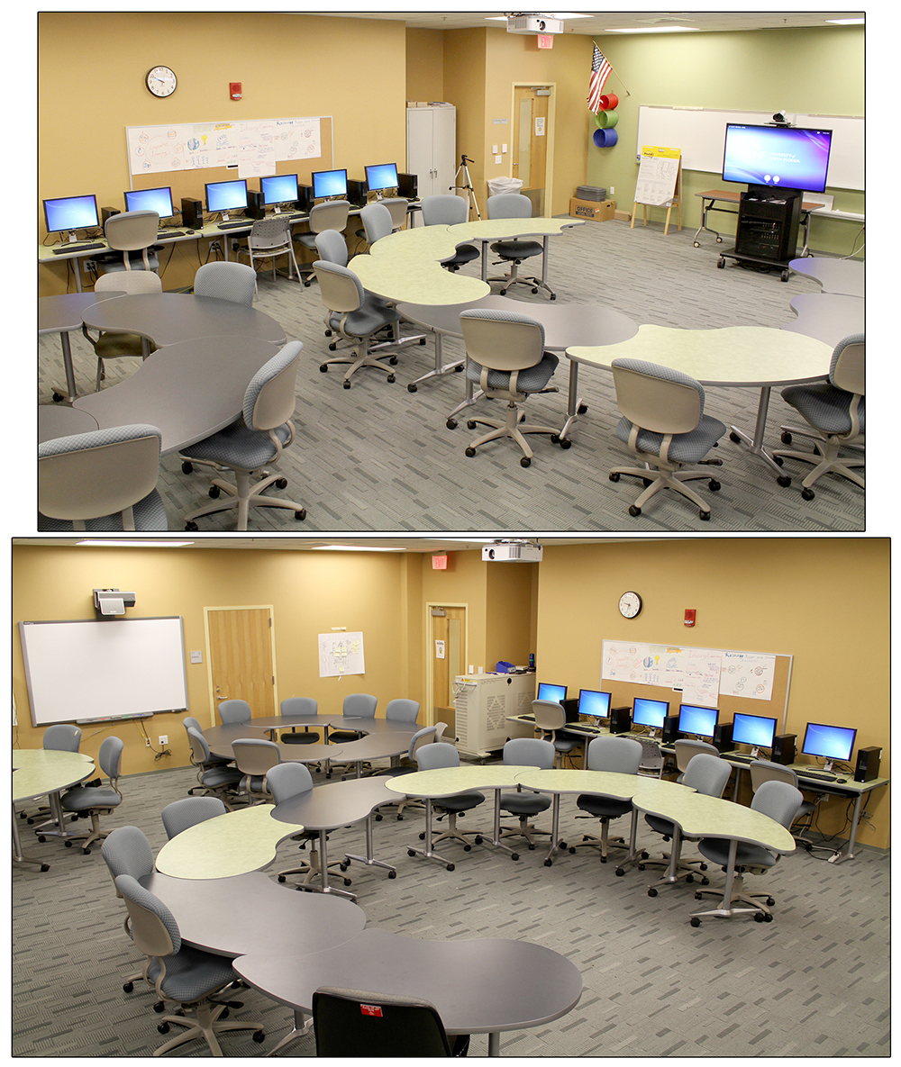 Room with computer stations, round desks, and telepresence cart.