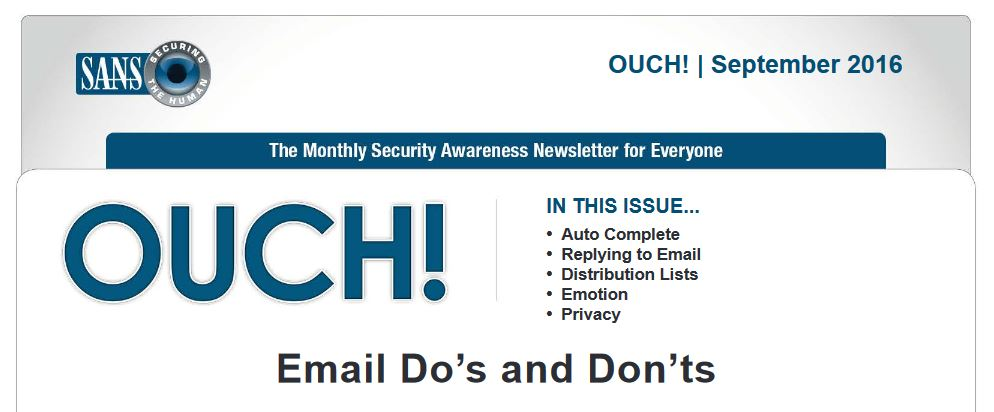 OUCH Newsletter EMAIL