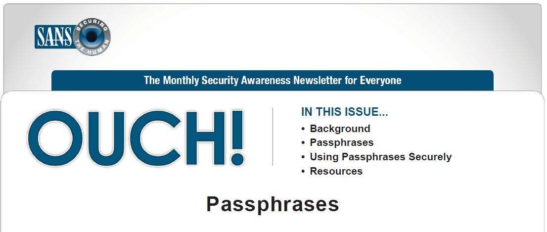 OUCH Newsletter Passphrases
