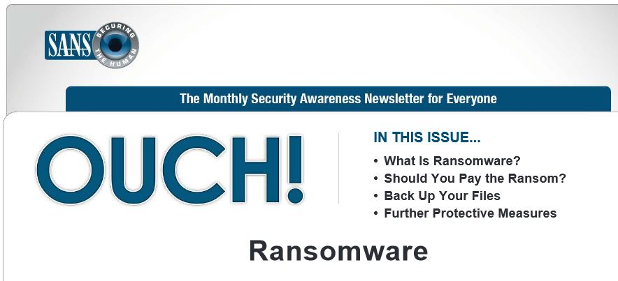 OUCH Newsletter Randsomeware Image