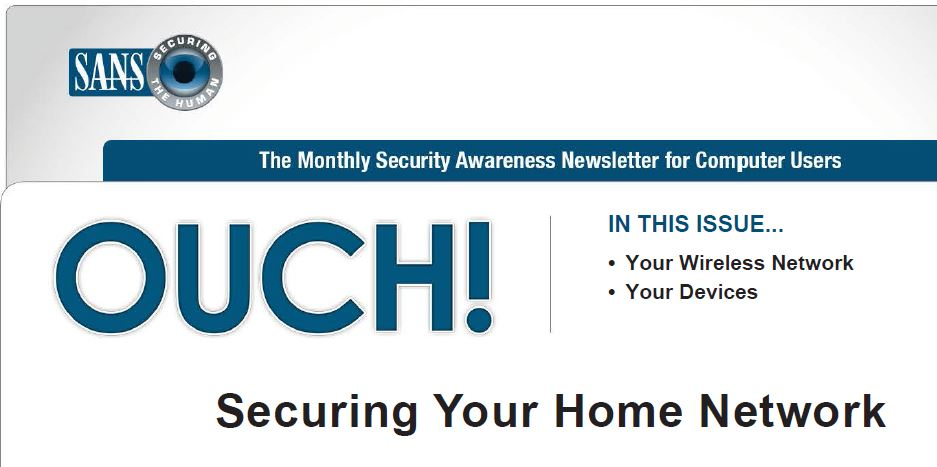 OUCH Newsletter Home Network Image