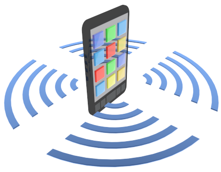 smartphone with wireless signals