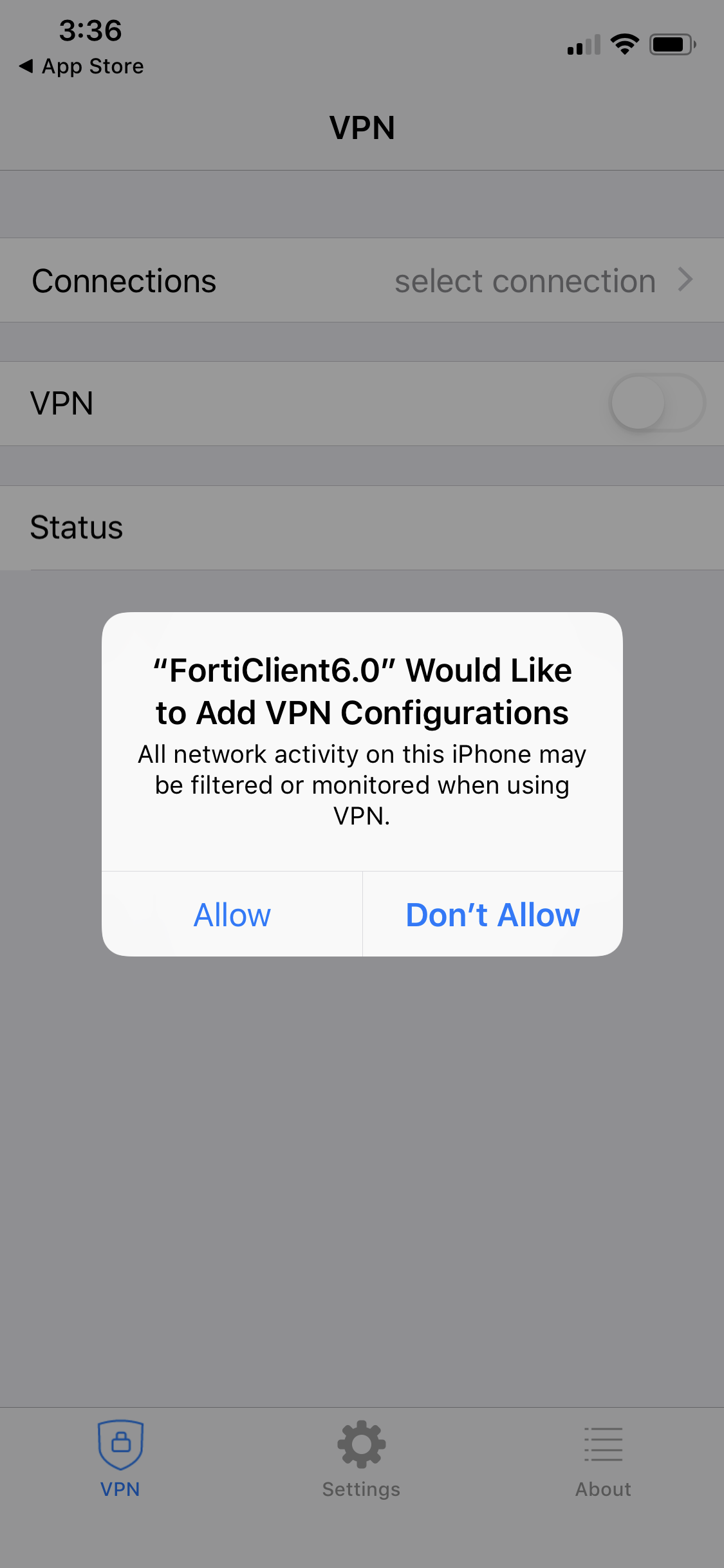 FortiClient add VPN Configurations on iOS