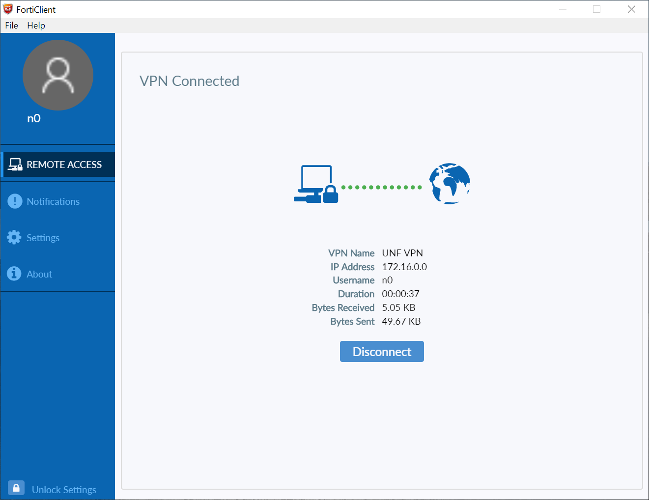 FortiClient VPN connected windows