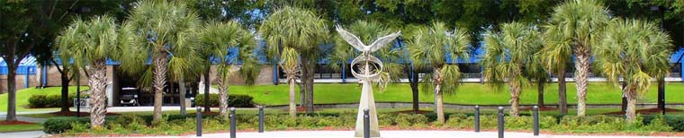 UNF flying Osprey fountain