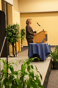 A Keynote Speaker addressing her audience