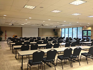 The HUC's Board of Trustees Room set in a classroom style