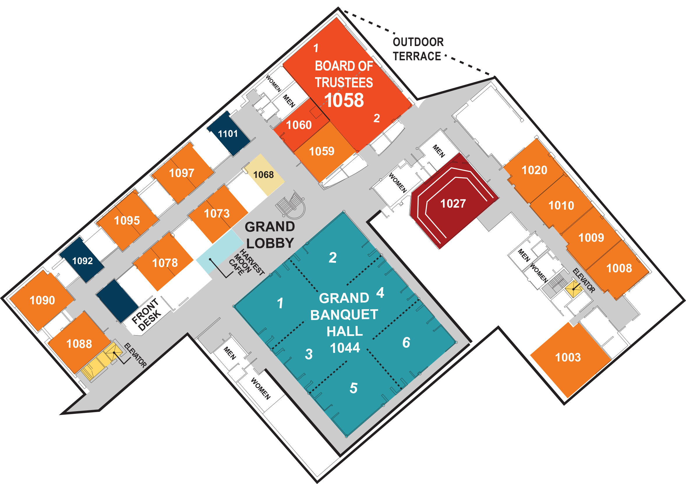 Floor plan of the meeting rooms available