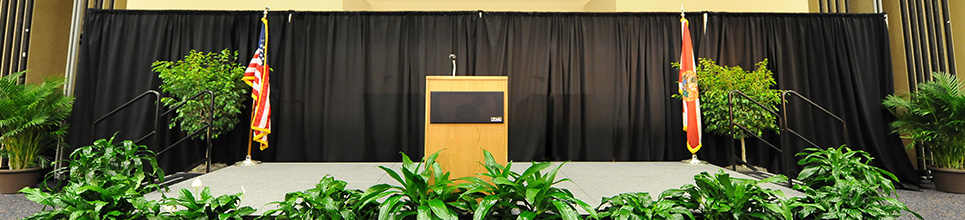 A photo of a stage and podium
