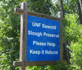 Sawmill Slough Preserve sign