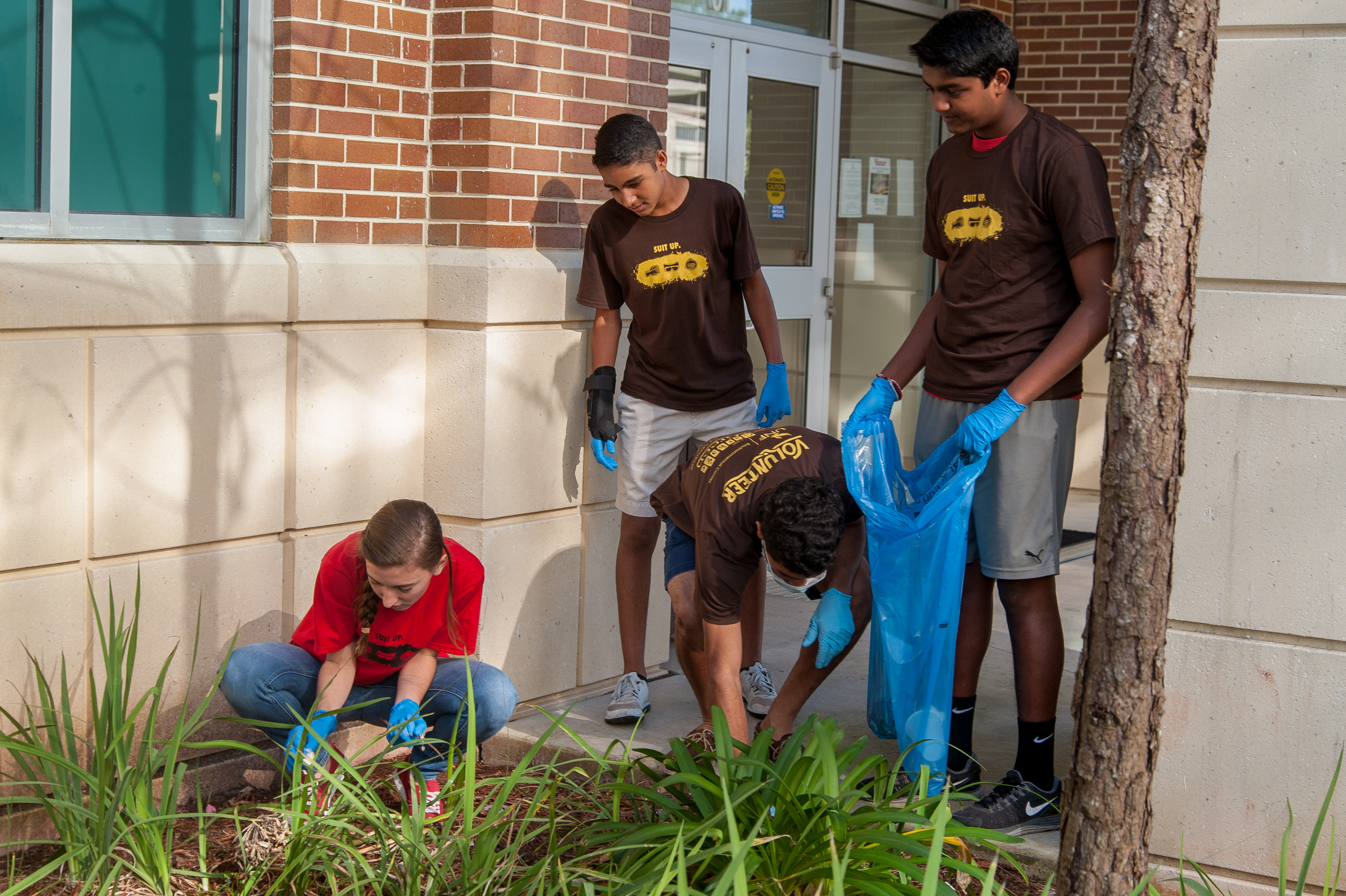 Students doing a cleanup