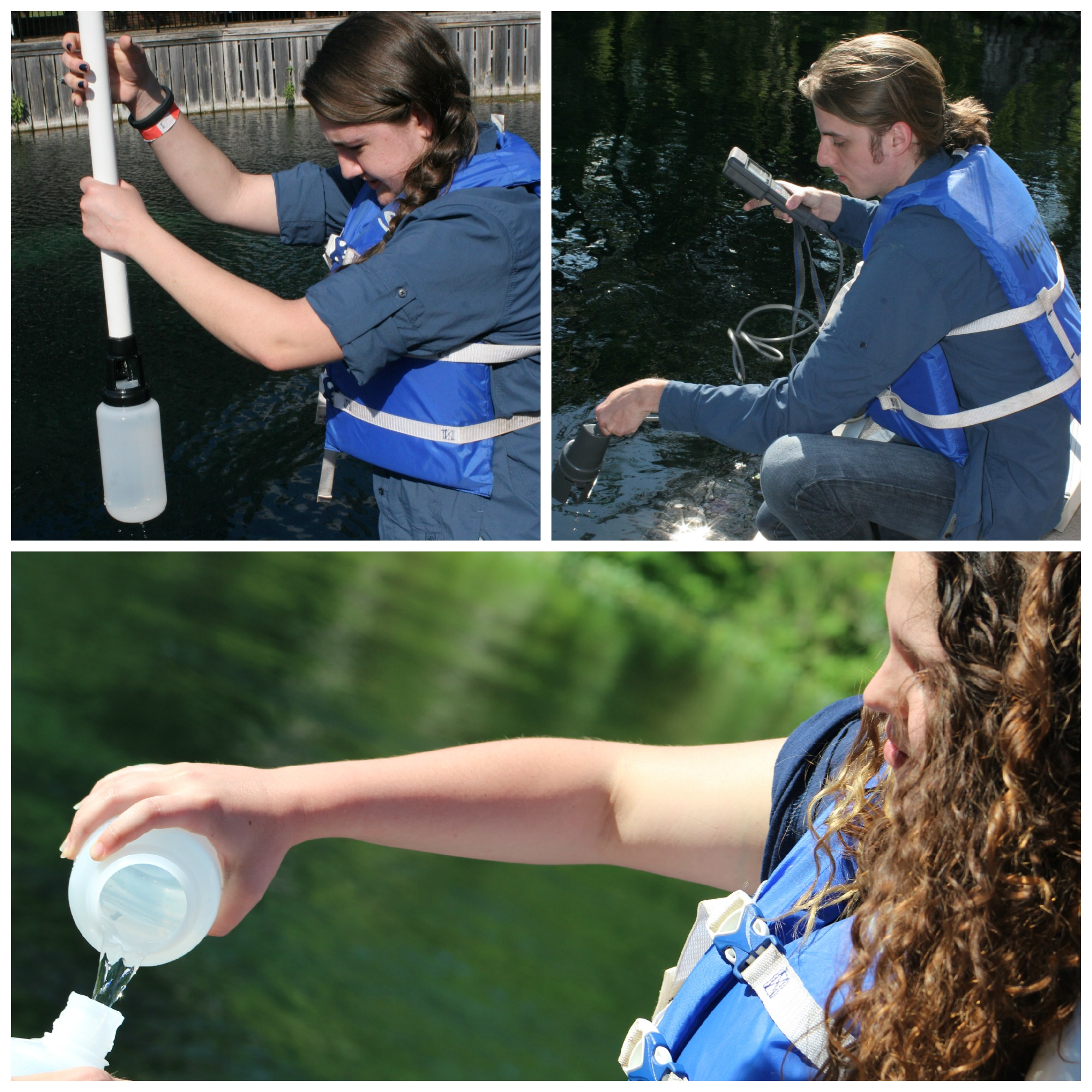 Students collecting water samples
