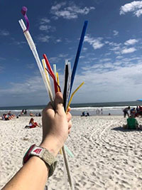 Straws found at the beach