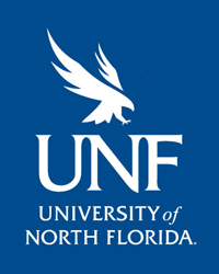 UNF Logo reversed with white text and Osprey on a blue background