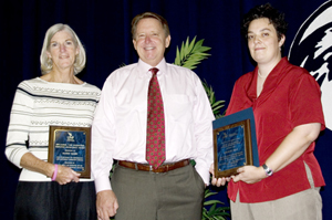 Gabor Award winners Kathy Klein (left) and Meghan Hull with President Delaney -photo by Julie Williams
