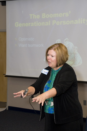 Instructor Linda Plummer shares information about Baby Boomer personality traits at CPDT's Bridging the Generations Gap workshop in June (Photo by Joao Bicalho).