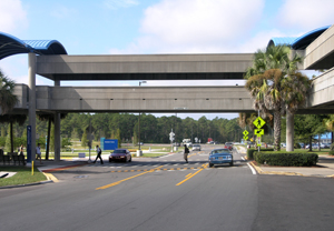 UNF Arena Crosswalk and Pedestrian Bridge (Photo by Sammy Cardoza)